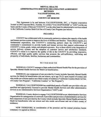 administrative services organization agreement template