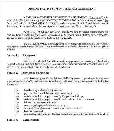 administrative support services agreement template