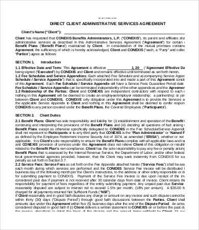Administrative services agreement template 9 free sample example client administrative services agreement template platinumwayz