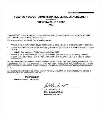 health plan administrative services agreement template