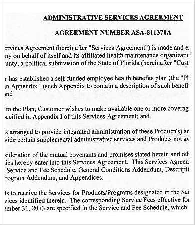 insurance administrative services agreement template
