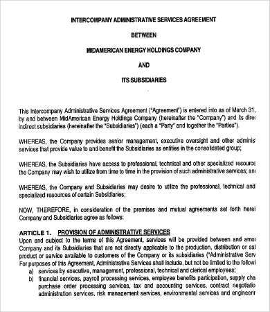 Intercompany Administrative Services Agreement Template
