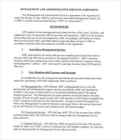 management administrative service agreement template