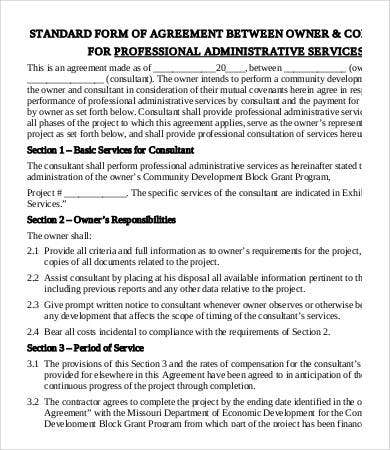 professional administrative services agreement template