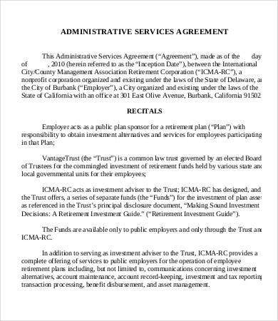 Administrative services agreement template 9 free for Facilities management contract template