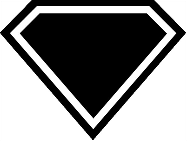 empty superman logo black white clipart library