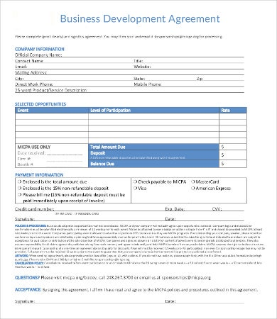 Business Development Agreement Template