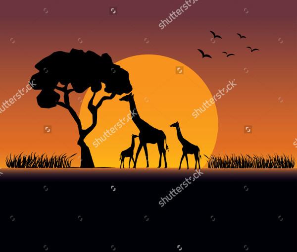 Giraffe Family Silhouette