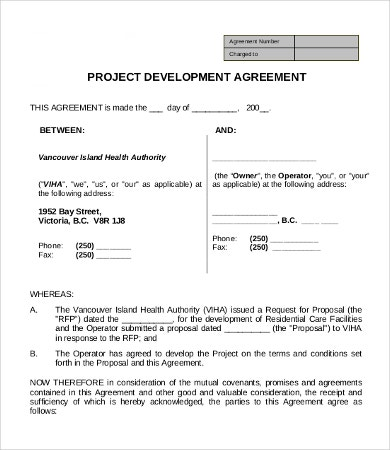 Project Development Agreement Sample