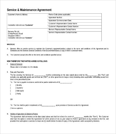 Service Agreement Forms - 9 +Free Word, Pdf Documents Download