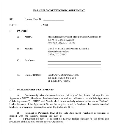 Earnest Money Agreement Template Intended For Money Contract Template