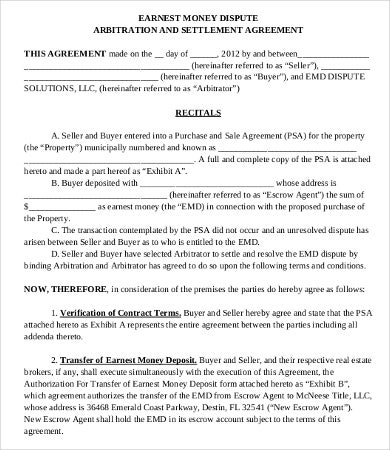 Money Settlement Agreement Template