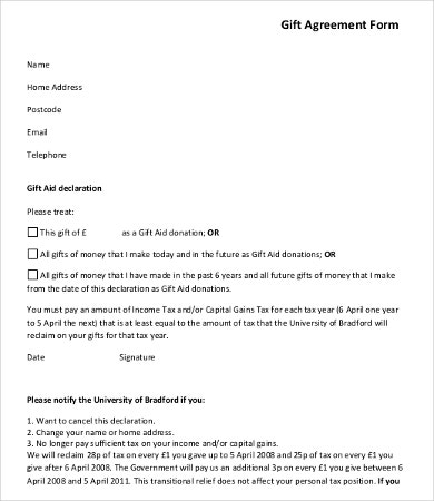 Gifting Money Agreement Template