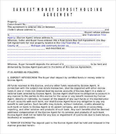 Earnest Money Deposit Agreement Template