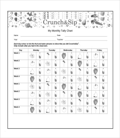 Monthly Tally Chart Template