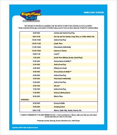 kids daily schedule template