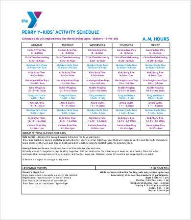 activity timetable template - 5 kid 39 s schedule templates free premium templates