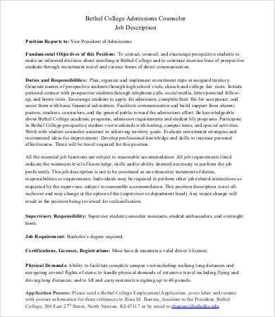 Admissions Counselor Job Description Templates  Pdf Doc  Free