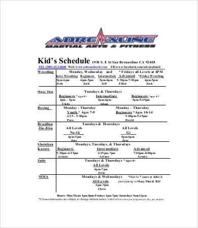 Kid's Class Schedule