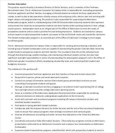 10+ Admissions Counselor Job Description Templates - PDF, DOC | Free ...
