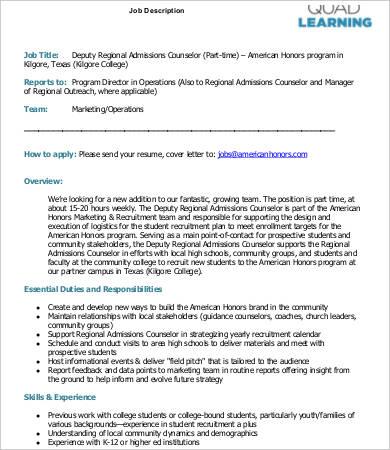 regional admissions counselor job description