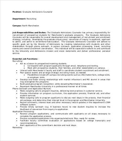 graduate admissions counselor job description