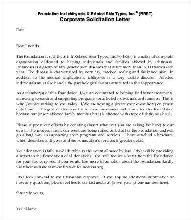 corporate solicitation letter template