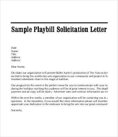playbill solicitation letter template