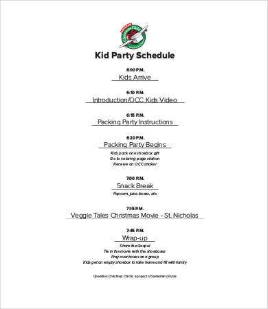 Kid's Party Schedule