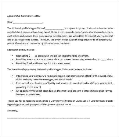 sponsorship solicitation letter template