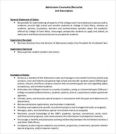 Admissions Counselor Job Description - 8+ Free Word, Pdf Documents