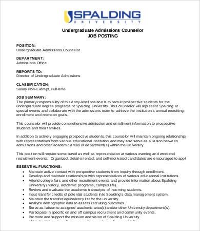 undergraduate admissions counselor job description