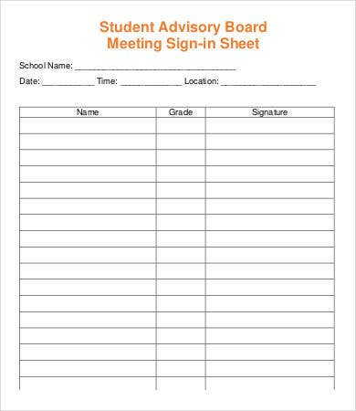 Meeting Sign In Sheet Template - 8+ Free PDF Documents Download ...