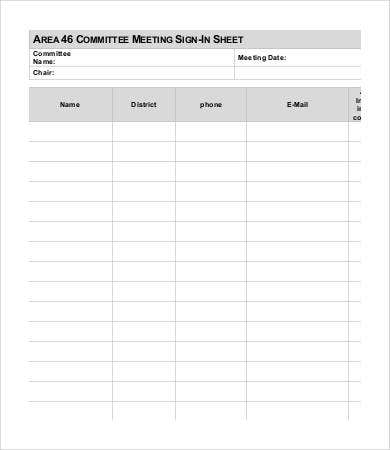 photograph relating to Free Printable Meeting Sign in Sheet identified as Conference Indication Inside Sheet Template - 13+ Free of charge PDF Files