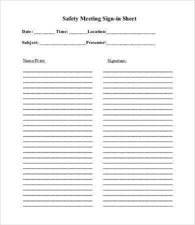 Safety Meeting Sign In Sheet Template