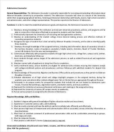 university admissions counselor job description