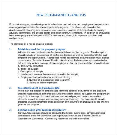 Sample needs analysis templates 9 free sample example format program needs analysis sample accmission Image collections