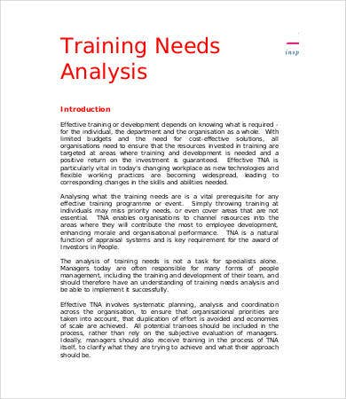 Sample Needs Analysis Training Needs Analysis Report Needs