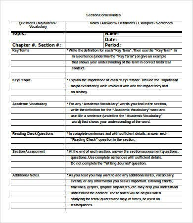 Cornell Notes Template Word   Free Word Documents Download