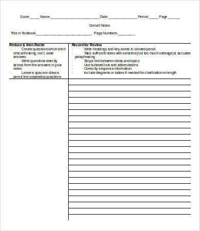 blank cornell note template word1