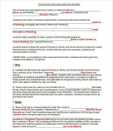 Land Lease Agreement Template 13 Free Word Pdf Documents