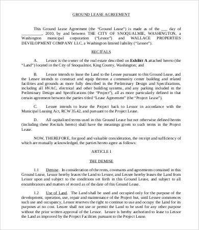 Land Lease Agreement Template 14 Free Word Pdf Documents