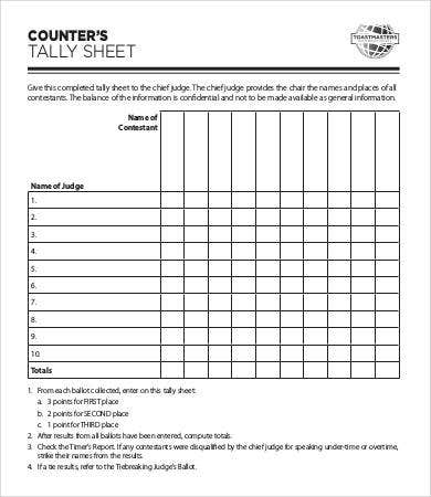 Tally sheet template 10 free word pdf documents download basic tally sheet template pronofoot35fo Image collections
