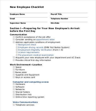 free employee checklist template