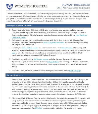 hr new employee checklist template1