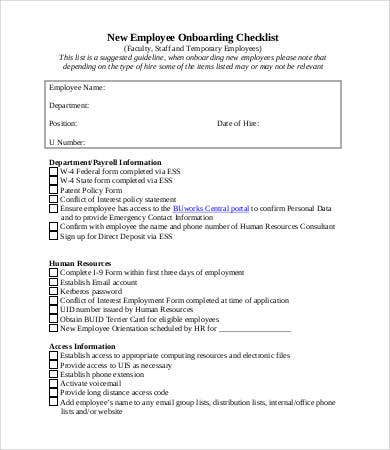 new employee on boarding checklist template