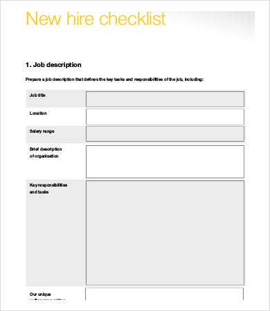 new hire employee checklist template1