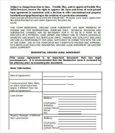 Residential Land Lease Agreement Template