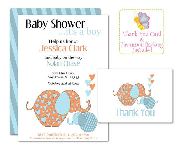 Elegant Baby Boy Invitation Card