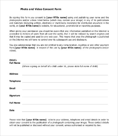 Consent form template 9 free word pdf documents for Photography permission form template